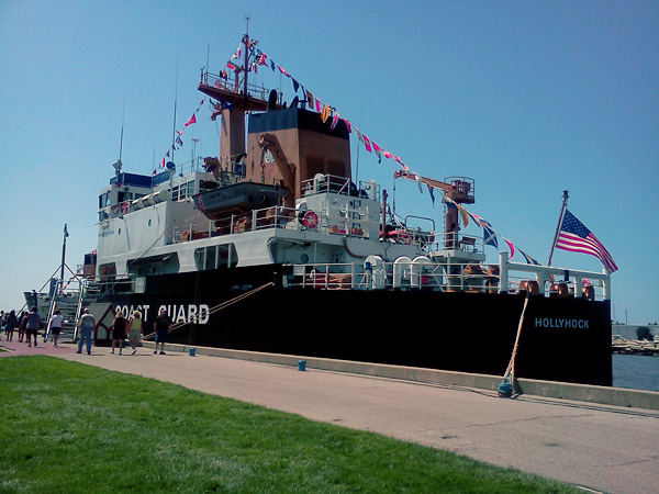A Coast Guard Ship docked in Grand Haven.
