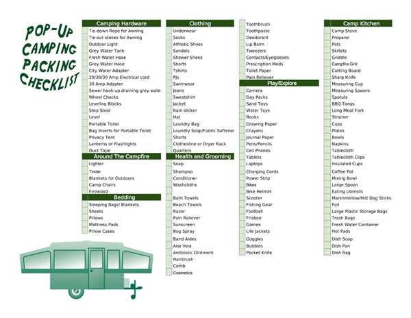 pop up camping checklist for packing